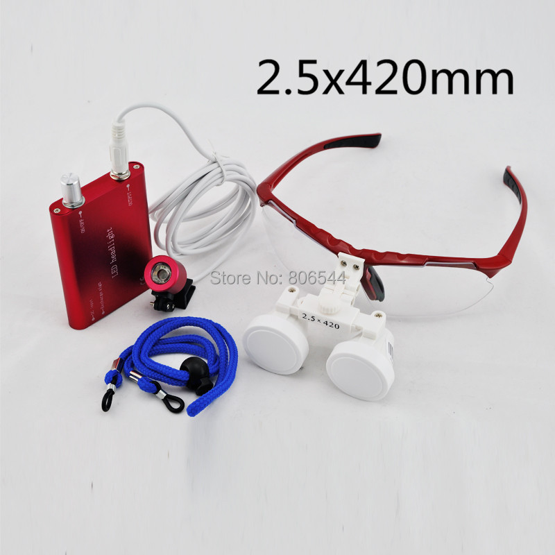 Brand New Dentist Dental Surgical Medical Binocular Loupes red 2.5X 420mm Optical Glass Loupe + Led head light lamp 188026-1 dentist dental surgical medical binocular loupes optical glass loupe portable red led head light lamp 3 5x420mm