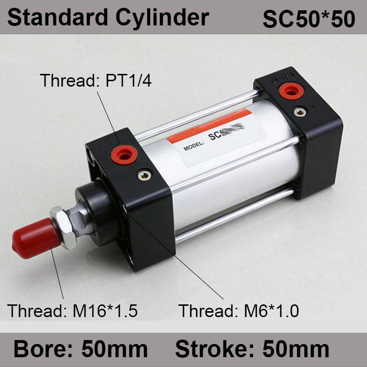 SC50 * 50 SC Série Standard Air Valve Bouteilles 50mm Alésage 50mm Course SC50-50 Simple Tige Double Effet Vérin pneumatique