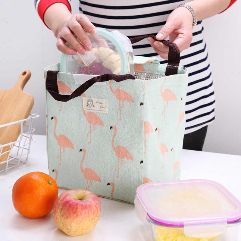 Baby Food Insulation Bags Feeding Milk Bottle Warmer Mummy Bag Flamingo Pattern Portable Picnic Thermal Lunch Bag