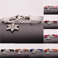 Hot Sale Ancient Silver Snowflake Infinity Love Charm Hand-woven Korean Velvet Rope Bracelet Wrap Leather Fashion Women Jewelry european american style ancient silver football sports charm pendant infinity love weaving bracelet women jewelry holiday gift