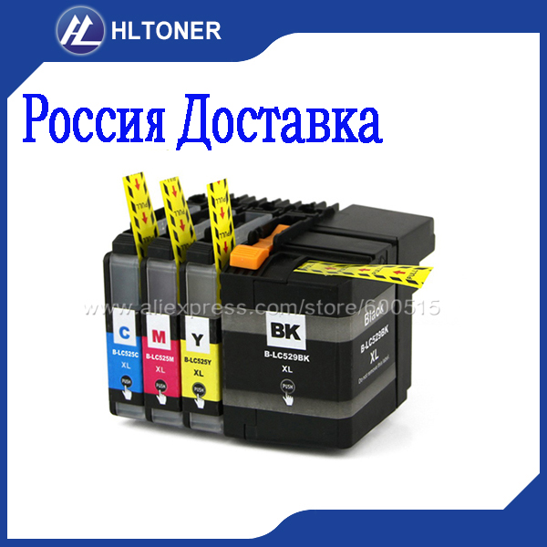 4pcs Compatible ink cartridge Brother LC529XL LC525XL for DCP J100 DCP J105 MFC J200 J100 J105
