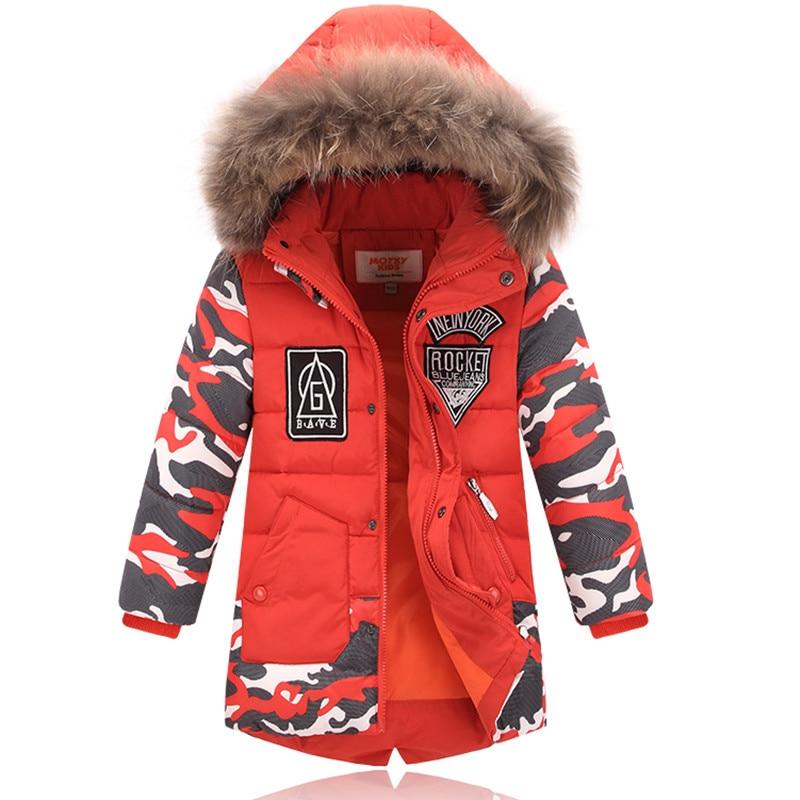 Winter Jacket For Kids Boy Fur Hooded Down Jacket Casual Warm Thicken Children Winter Outerwear & Coats winter