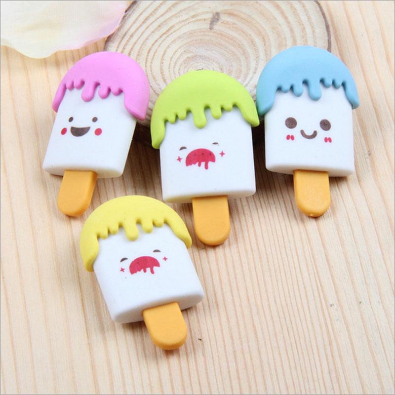Купить с кэшбэком 2pcs/lot Creative ice cream eraser school correction office supplies