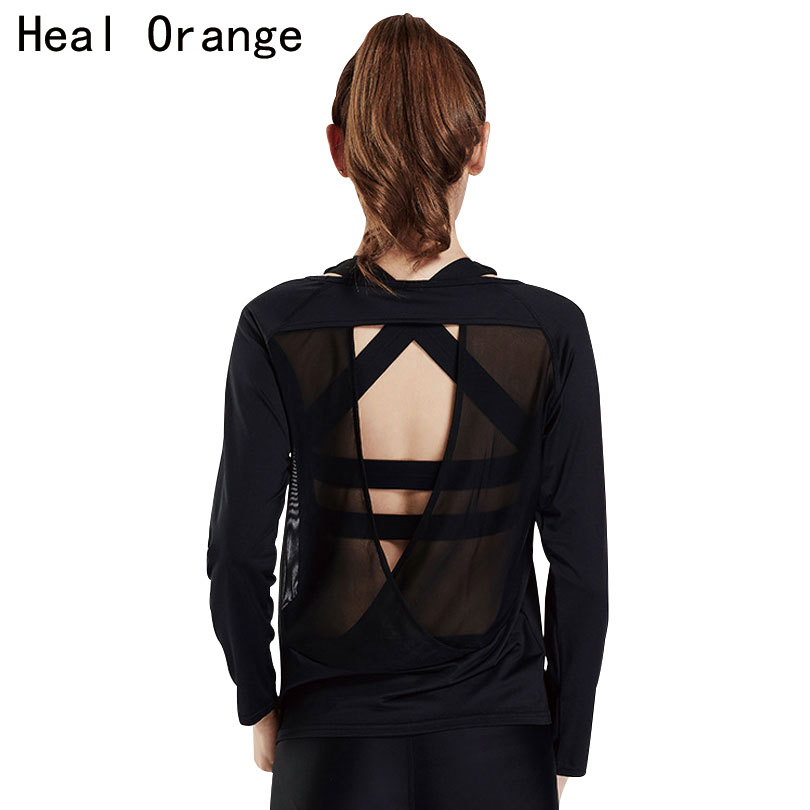 HEAL ORANGE Women Yoga Top Loose Open Back Fitness Sports Shirt T Shirt Dance Top Gym Sports Jerseys Sportswear Running Tops twist open v back t shirt