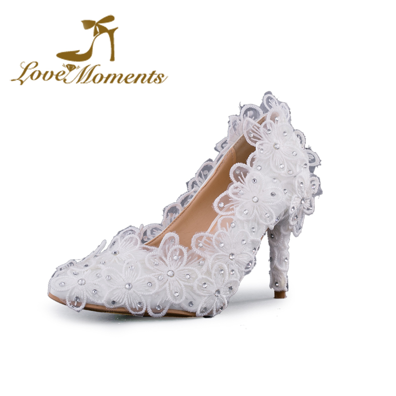 Фото 20167 Woman High Heels lace flowers wedding shoes handmade pointed-toe thin heel bridal shoes sweet dress shoes  crystal pumps