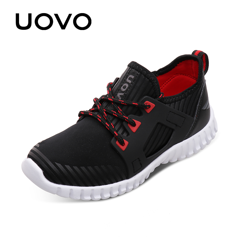 UOVO 2018 New Kids Stylish Sneakers Lace-up Closure Kids Shoes Light-weigth Comfortable Boys and Girls Shoes for Eur 31#-37#