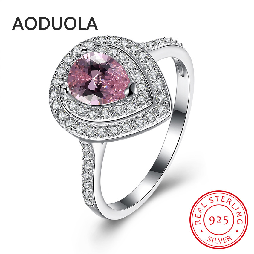 Aliexpress.com : Buy 925 Sterling Silver Ring with pink Water drop ...