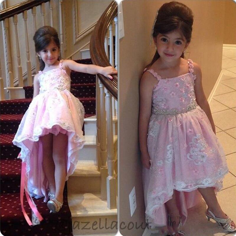 Pink Beads Sash Flower Girls Dresses Spaghetti Neck Flower Girl Pageant Birthday Dresses Hot Lace Applique Christening Dress