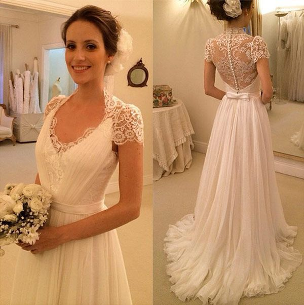 Elegant Beach Wedding Dresses A Line Cap Sleeve Chiffon Lace Dress Bridal Gowns Vintage Vestidos