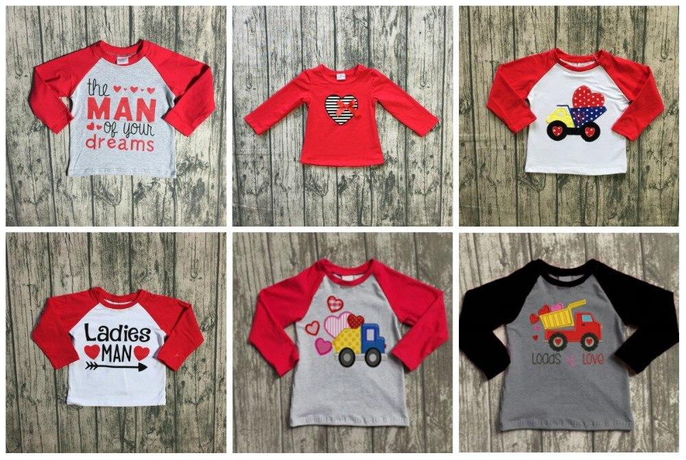 Valentinstag baby jungen Damen mann auf ihre traum pfeil baumwolle boutique nette top T-shirt reglans childen clotes langarm