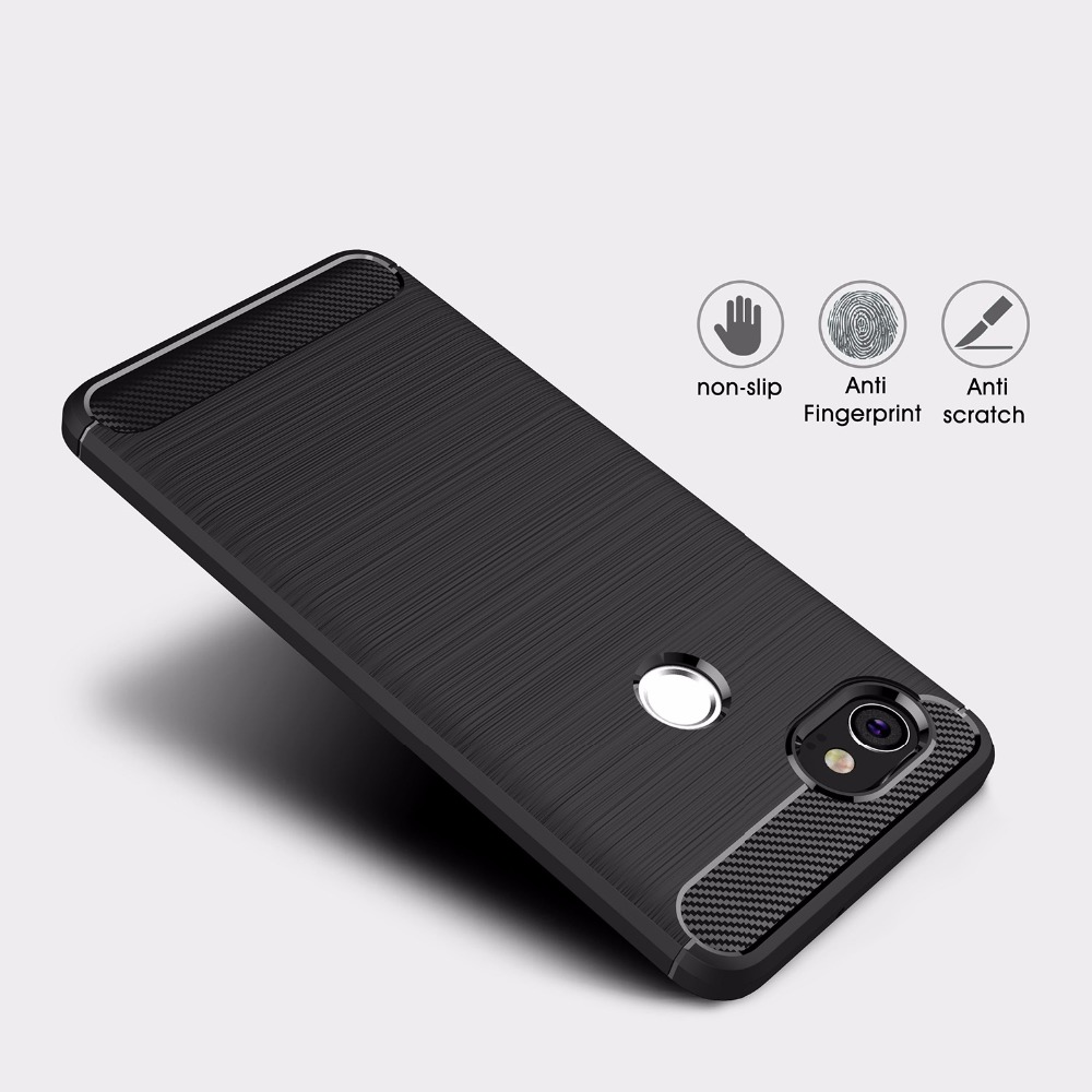 For Google Pixe 2 Ultra Thin Carbon Fiber Case Shock Absorption Flexible TPU Drawing Grip Protective Cases Cover For Pixel 2 XL