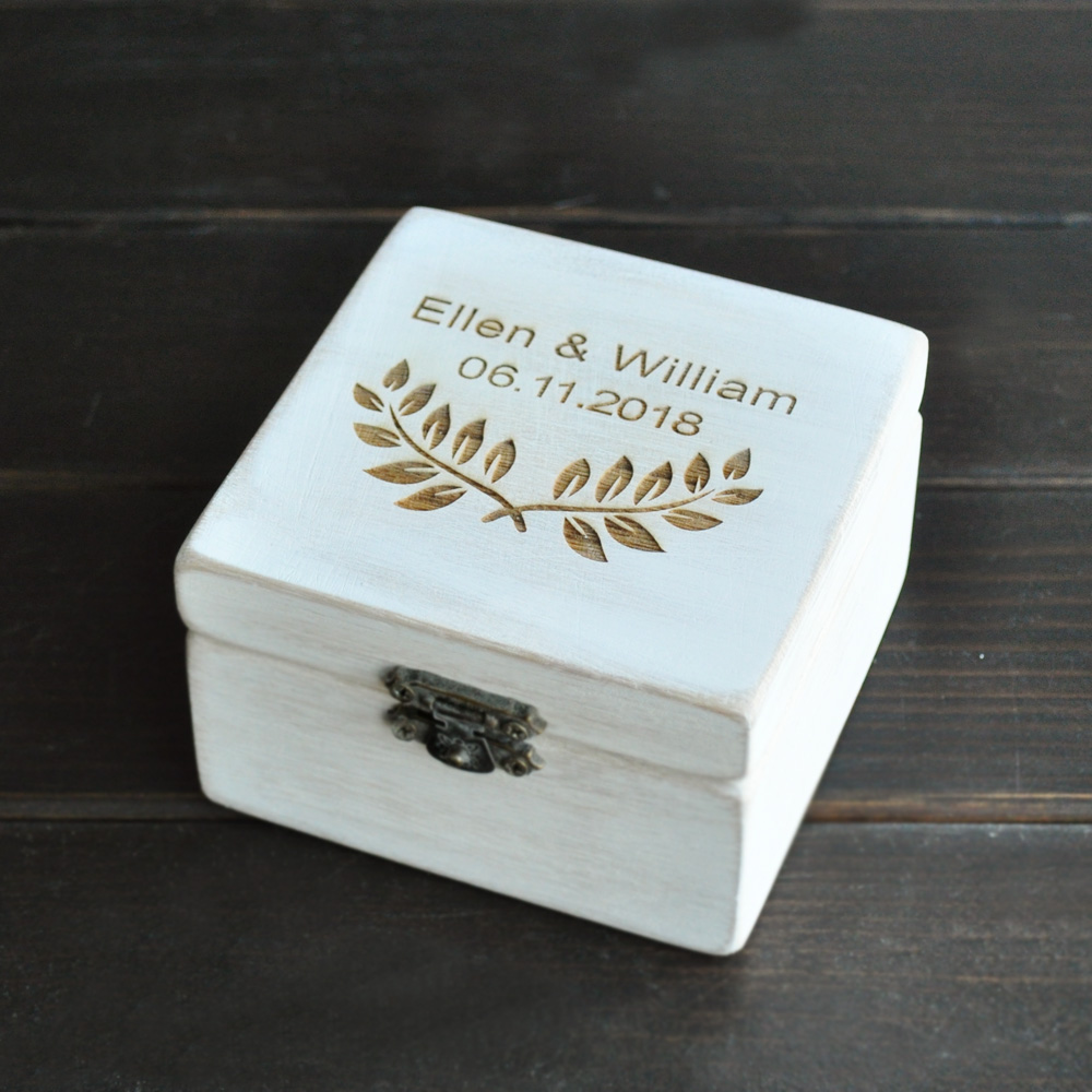 Personalized Ring Box, Rustic Wedding Ring Bearer, Square Wooden Ring Holder, Wedding Gift Anniversary Gift Customized