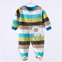 Free Shipping 2015 Spring Fleece Rompers Long Sleeve Newborn Girl Boy Baby Clothes With Character 0