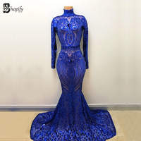 Long Prom Dresses 2019 Sexy See Through High Neck Long Sleeve Sequin Royal Blue Mermaid African Women Prom Dress
