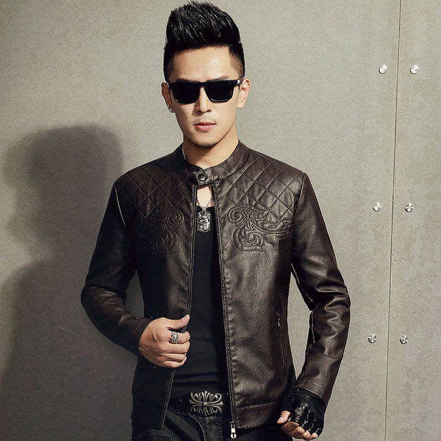 Men 's leather motorcycle jacket new winter with velvet men's leather solid color PU leather jacket fashion vein