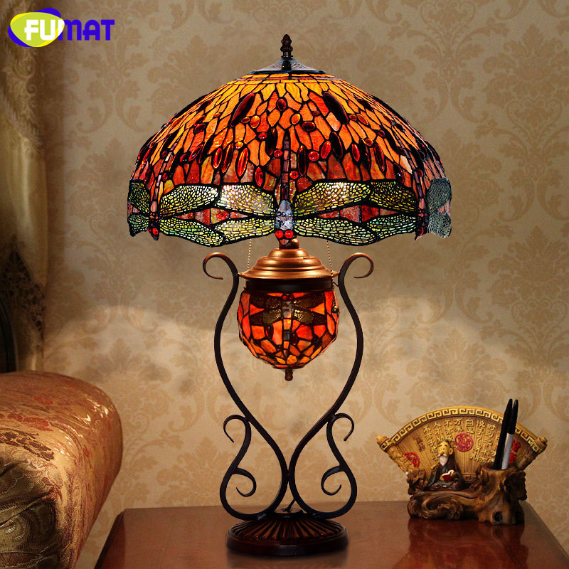 FUMAT Stained Glass Table Lamp European Style Classic Garden Rose/Grape/Dragonfly Bedside Lamp Living Room Hotel Table Lights fumat stained glass pendant lamps european style glass lamp for living room dining room baroque glass art pendant lights led
