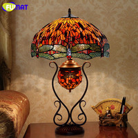 FUMAT Stained Glass Table Lamp European Style Classic Garden Rose/Grape/Dragonfly Bedside Lamp Living Room Hotel Table Lights