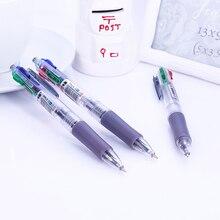 1 шт. красный синий черный зеленый четыре цвета ручка для письма 0,7 мм ручка для подписи пластиковая шариковая ручка для школы офисные канцелярские принадлежности