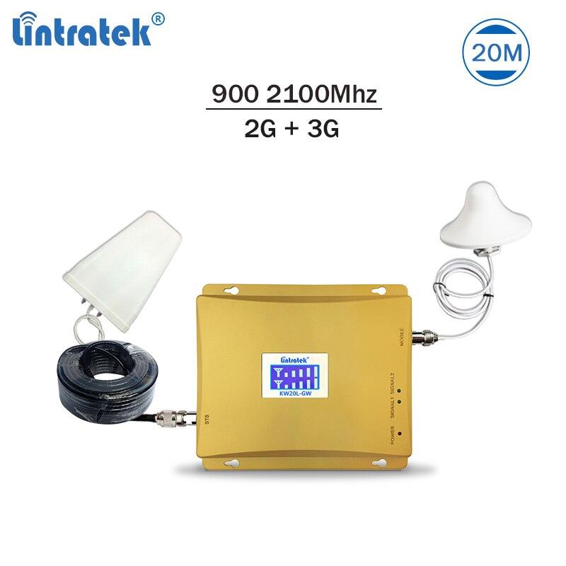 Lintratek vente chaude double bande 2G 3G signal booster 900 2100 gsm umts répéteur téléphone mobile signal amplificateur kit complet 20m #7