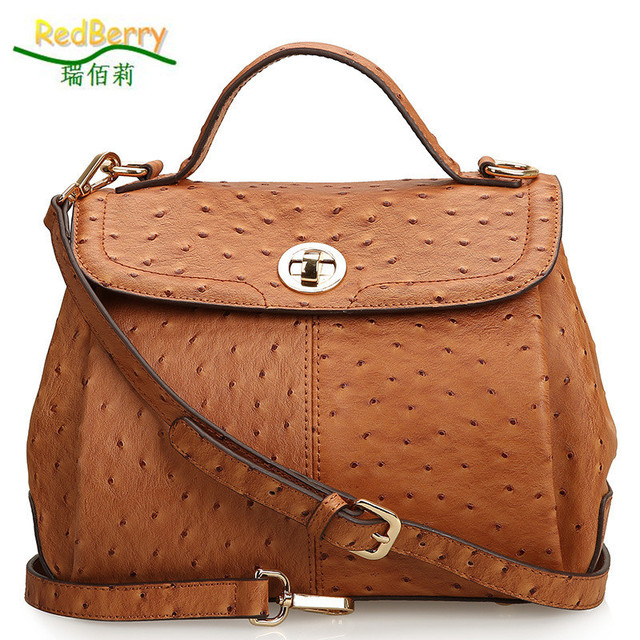36566b1ef6ef 2015 Women Ostrich Genuine Leather Tote Fashion leather Handbags Trendy  Top-handle Bags Vintage Shoulder Bags New Messenger Bags