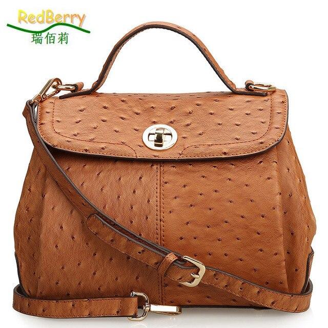 2017 Women Ostrich Genuine Leather Tote Fashion Handbags Trendy Top Handle Bags Vintage Shoulder