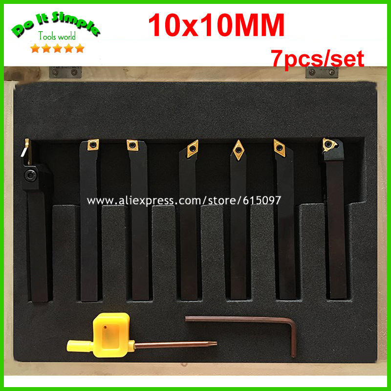 New 7pcs/set 10*10mm 10x10mm Hard Alloy Blade with Coating Turning Tool, CNC Lathe Tool Kits Cutter , Durable Cutting Tools 5pcs set 14mm indexable hard alloy turning tool lathe tool kits cutter durable cutting tools with wooden case