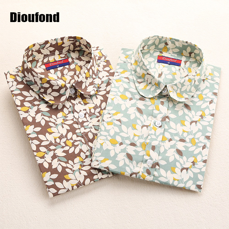 eb99fd712 Dioufond New Floral Long Sleeve Vintage Blouse Cherry Turn Down Collar  Shirt Blusas Feminino Ladies Blouses Womens Tops Fashion-in Blouses & Shirts  from ...
