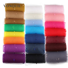 Multiple color mix dot birdcage veil 25CM Width millinery veils DIY Hair accessories hat bridal wedding netting party headwear(China)