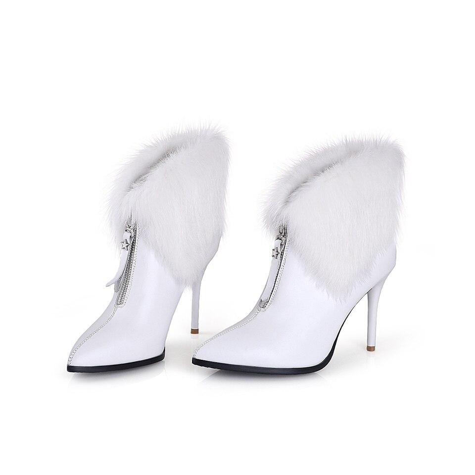 2018Autumn winter fashion womens boots stiletto shoes rabbit fur collar decoration sexy comfortable womens ankle boots2018Autumn winter fashion womens boots stiletto shoes rabbit fur collar decoration sexy comfortable womens ankle boots