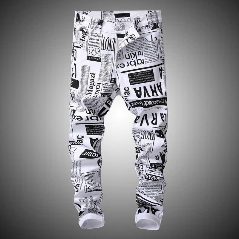 Hip Hop Printing White Denim Pant Men Slim Fit Stretch Pant Newspaper Print Pants Men Casual Printed Trousers For Male D2806 Casual Pants Aliexpress