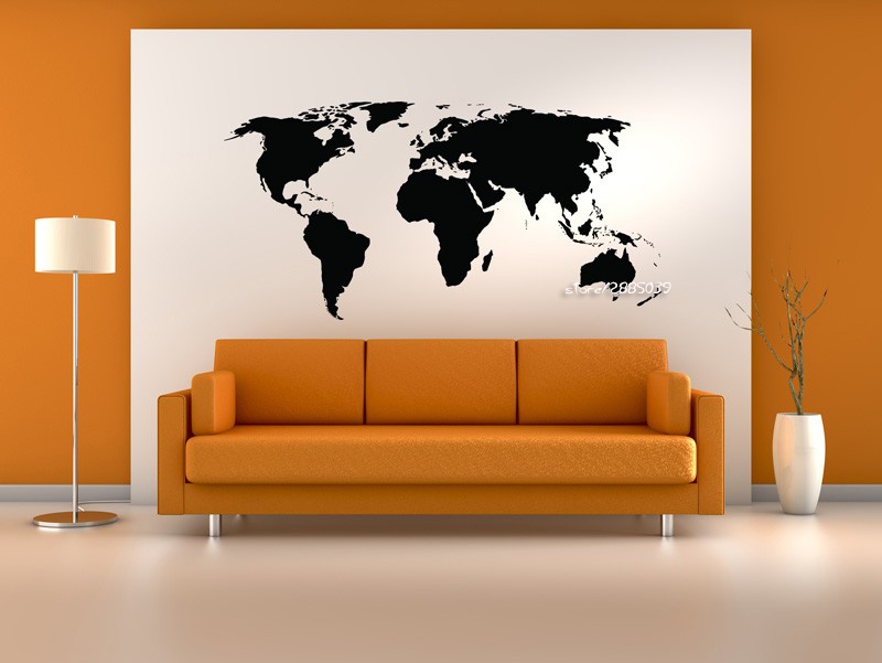 Custom World Map Wall Stickers PVC Material Handmade Wall Decals For Living  Room Office Home Decoration