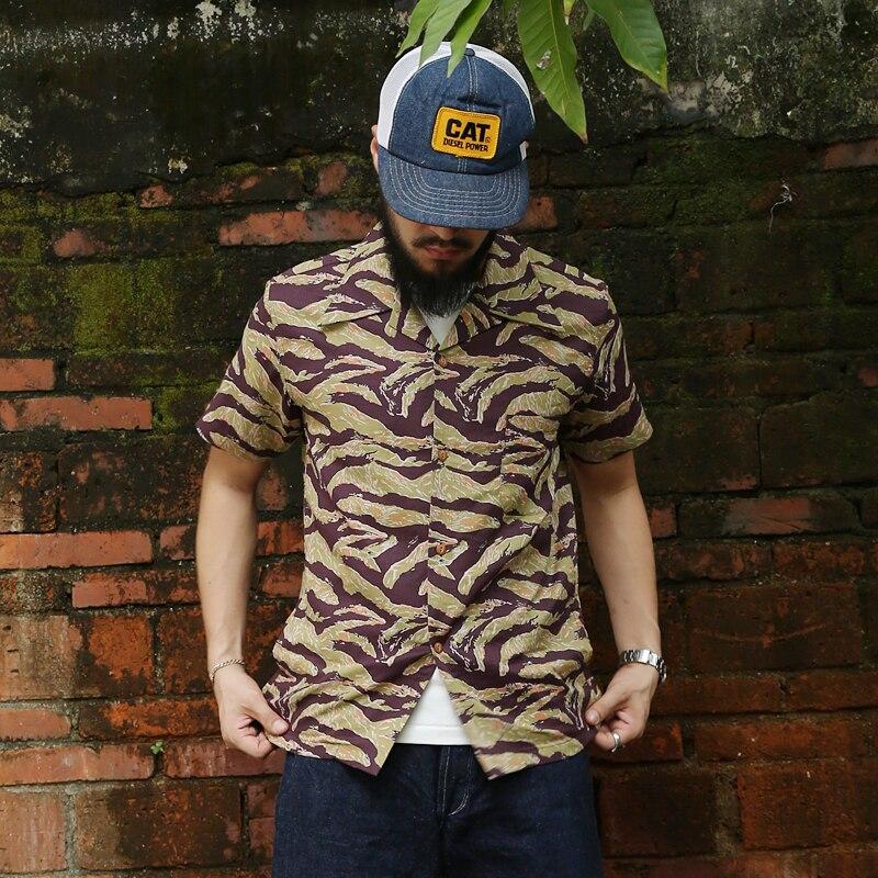 Bronson Ripstop Tiger Camouflage Hawaiian Shirts Splay Collar Pocket T-Shirts