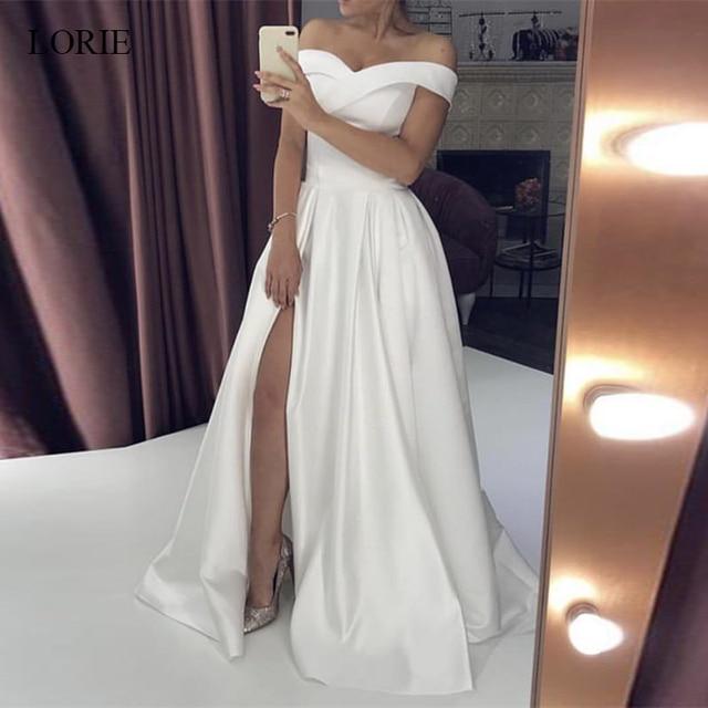 LORIE Wedding Dresses 2019 Satin Off the Shoulder Bridal Gown Right Split Backless vestido de noiva custom made plus size 1