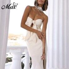 Max Spri 2019 Summer New Women Club Dress Sexy Fashion Solid Sleeveless Backless Strapless Bow Cut Out Women Midi Dress цена в Москве и Питере