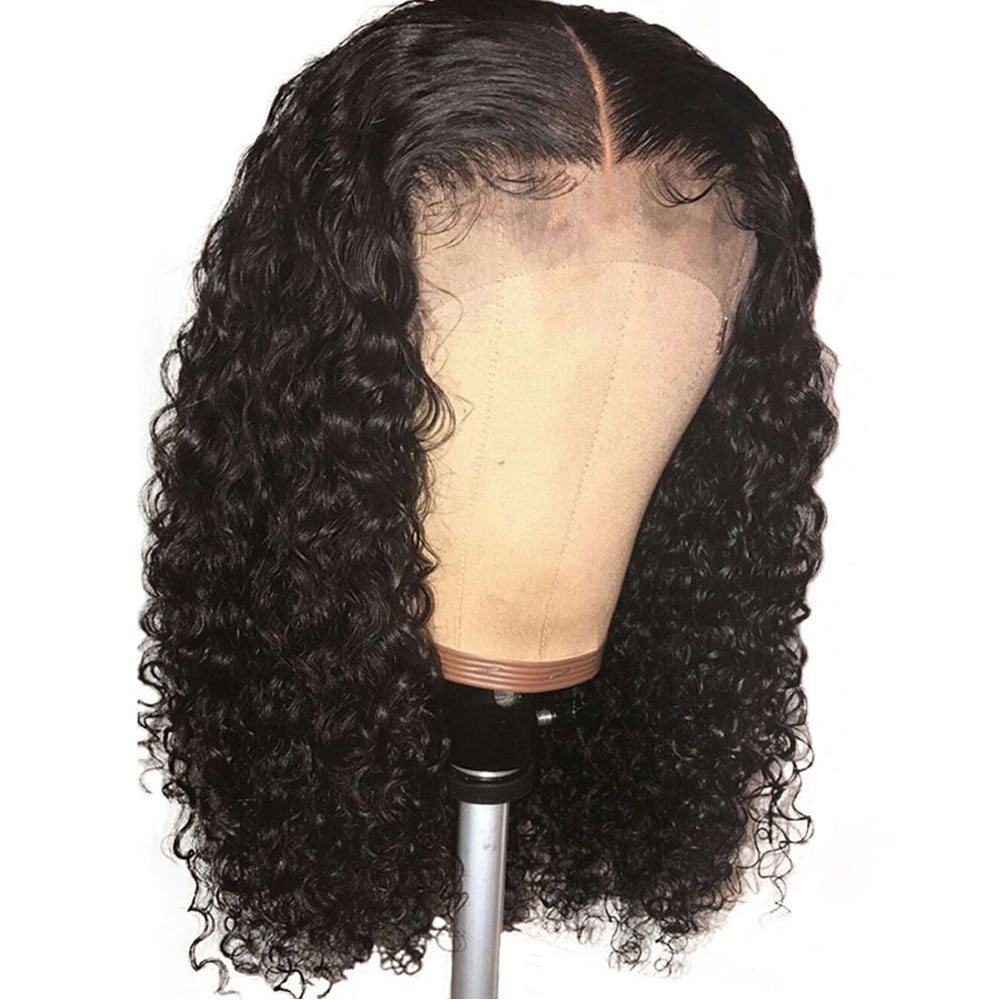 Curly Human Hair Wig Deep Part 13x6 Lace Front Wigs For Women Natural Black Middle Part