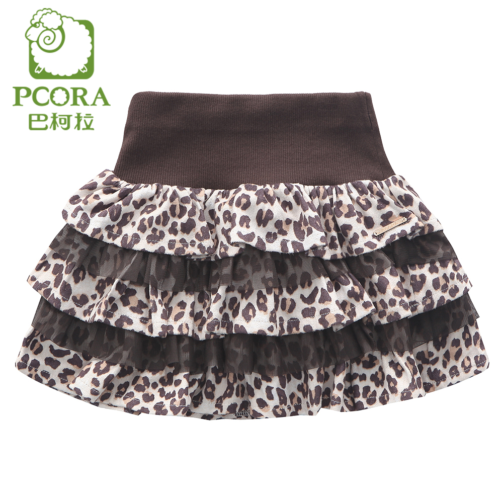PCORA Kids Girl Mini Skirt Leopard Pattern Spring and Autumn Wear Knitted Elastic Waist Above Knee