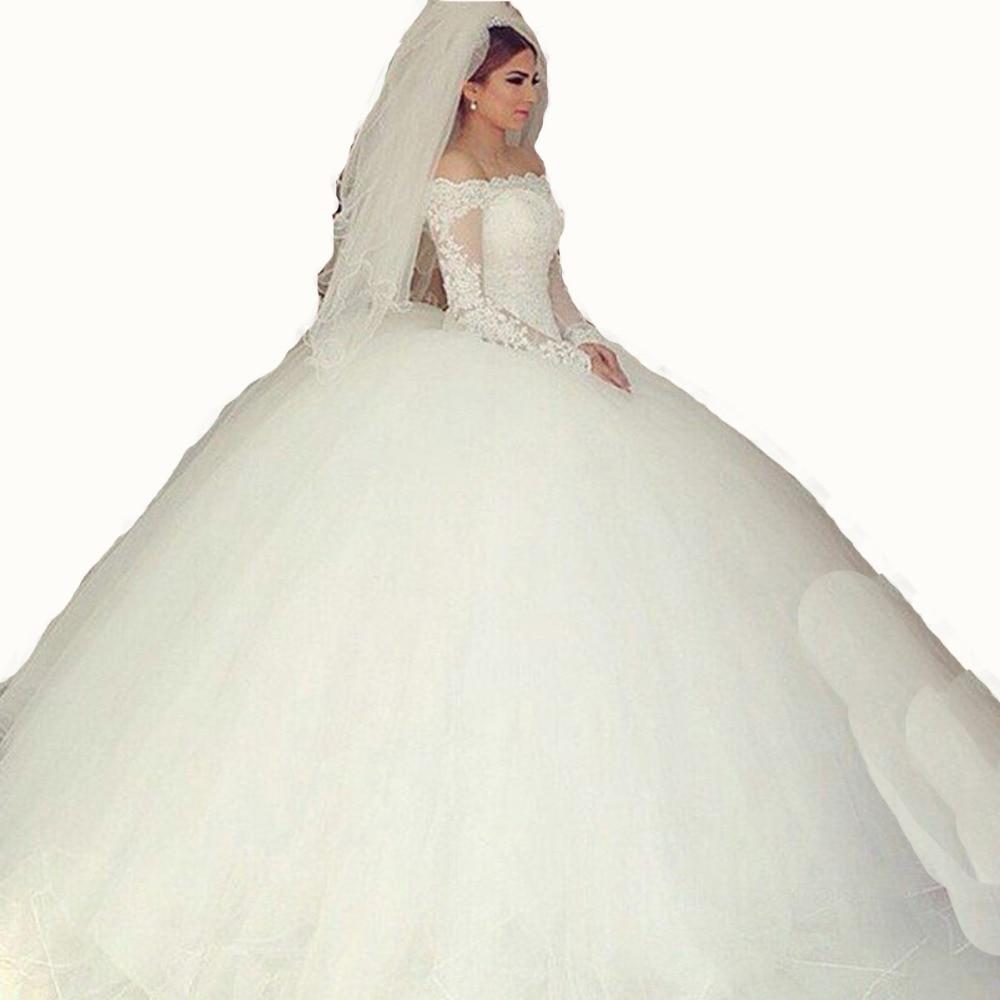 Said mhamad 2015 long sleeve wedding dress vestidos de for Long arm wedding dresses