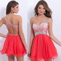 Beading Sexy backless rhinestone short Prom gown 2018 party Custom Made one shoulder vestido para festa bridesmaid dresses