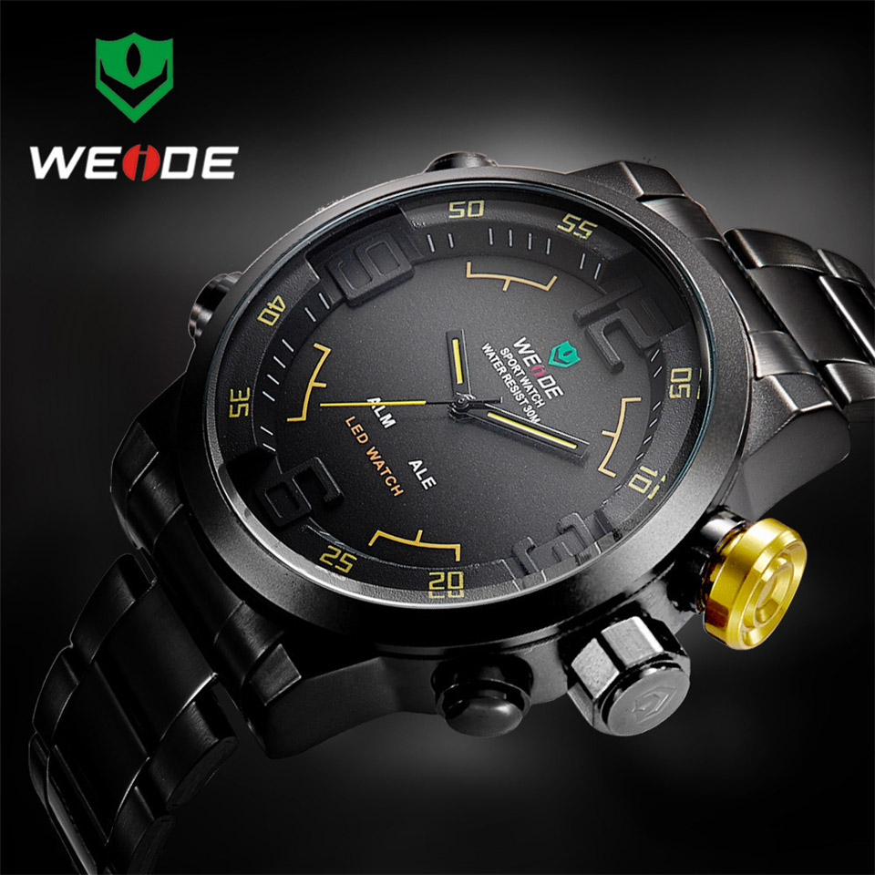 Image 4 - Top Luxury Brand WEIDE Men Full Steel Watches Men's Quartz Analog LED Clock Man Fashion Sports Army Military Wrist Watch-in Quartz Watches from Watches