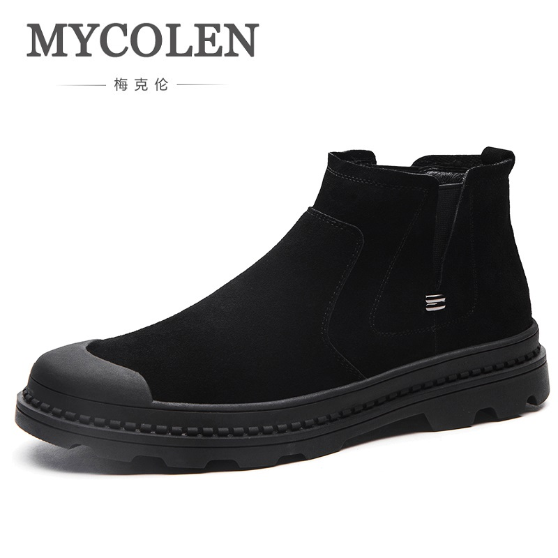 MYCOLEN Chelsea Boots Men Shoes Cow Suede Leather New Fashion Brand Boots For Men's Spring Autumn Trend Martin Warm Shoes 2017 new spring imported leather men s shoes white eather shoes breathable sneaker fashion men casual shoes