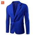 Mens Coreano slim fit Mens Coreano slim fit moda algodão Blazers Mens Casaco Jaqueta blazer Terno preto Macho azul Casamento vestido