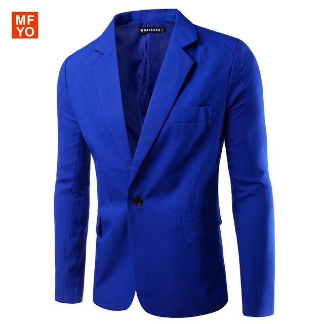 Mens Coreano slim fit Para Hombre de Corea ajuste delgado de algodón de moda blazer Suit Jacket negro azul Blazers Masculinos Para Hombre Abrigo de La Boda vestido