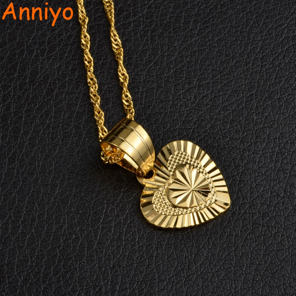 Anniyo 1.6CM SMALL Heart Pendant and Necklaces for Women Girs