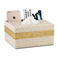European Style leather multi-function tissue box Creative Simple living room desktop coffee table remote control storage box стоимость