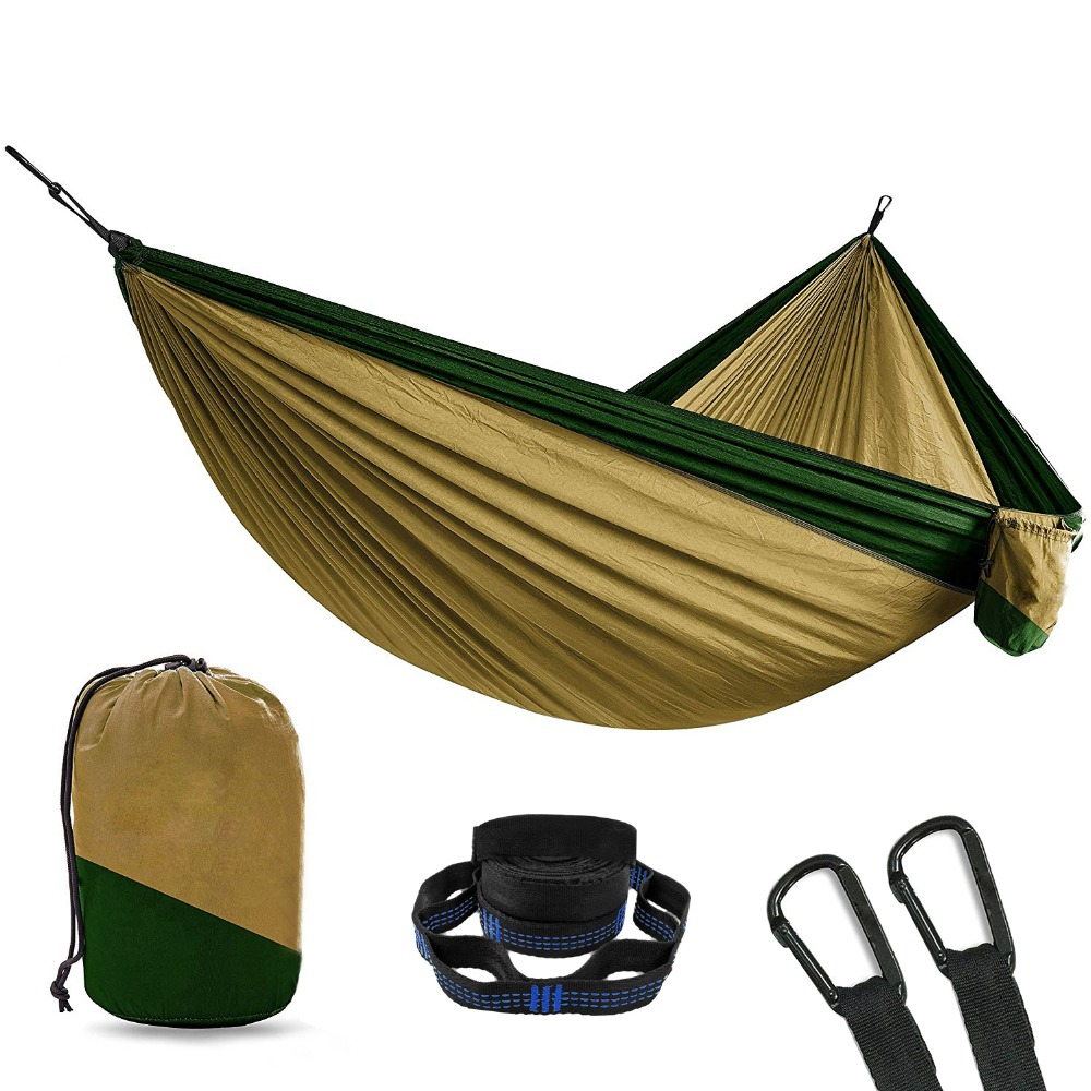 все цены на Portable Double Person Parachute Hammock Swing Indoor Outdoor Leisure Camping Hang Bed Garden hamak Sleeping hamac 300*200cm в интернете