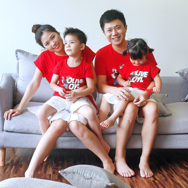 88a678810c45 2018 Summer Family Matching Clothes Mother And Daughter Matching Sets Red  Cartoon Popeye Fashion T Shirt