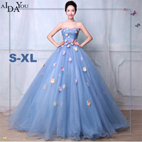 Women long mesh lace Dress floor length Shiny strapless ball gown formal quinceanera princess Dresses ouc1280
