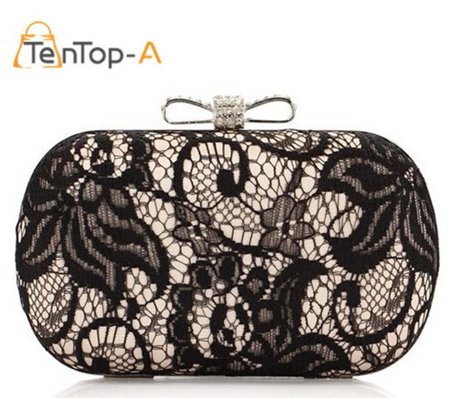 Good Hollow Lace Clutch Bag  New Lace Satin Evening Bags High-Grade Silk Bow Party Bag Exquisite  Day Clutches 3 Colors NO3013