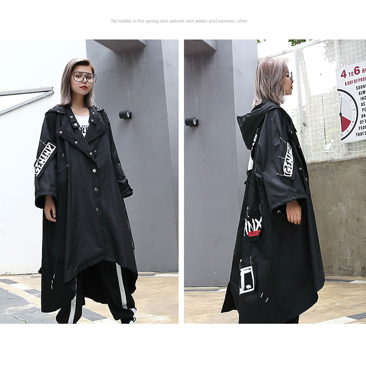 XITAO Spliced Plus Size Black Trench For Women Tide Long Print Streetwear Hoodie Casual Female Wide Waisted Coat 19 ZLL1100 8
