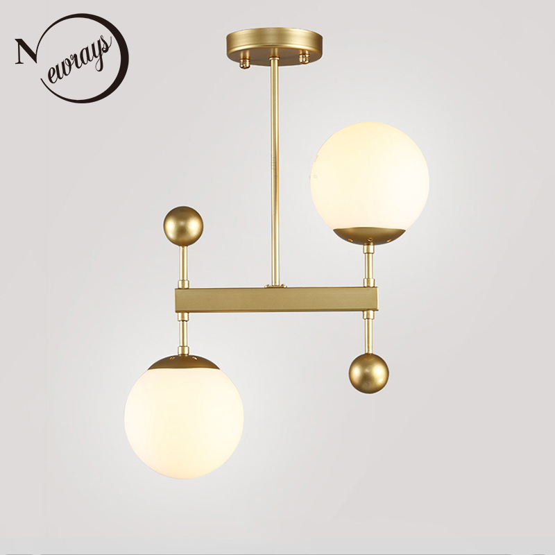 Loft 2 lights iron glass ball ceiling lamp LED E14 modern simple ceiling light with 2 colors for living room bedroom lobby hotel